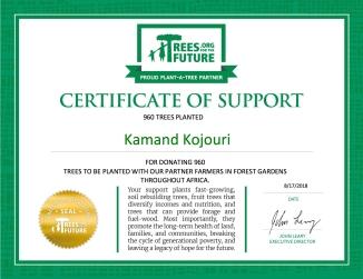 Kamand Kojouri Trees Donation Certificate