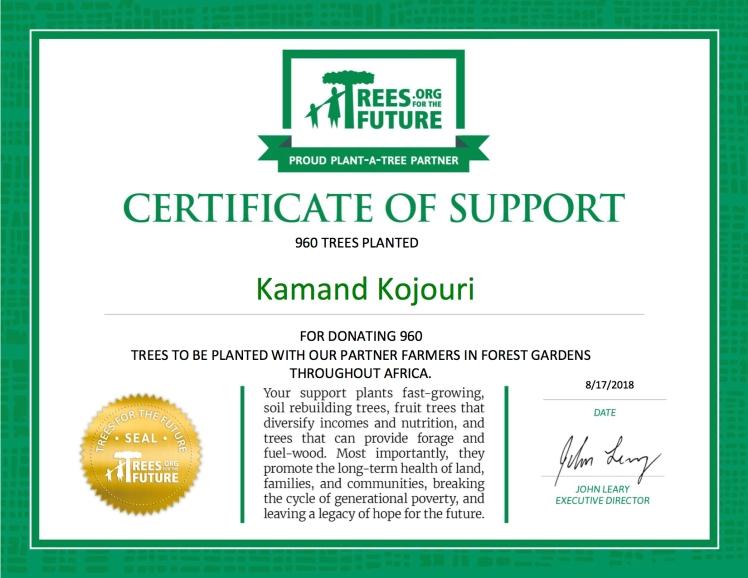 Kamand Kojouri Donation Certificate